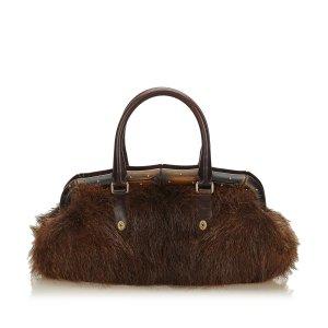 Gucci Fur Bamboo Frame Handbag
