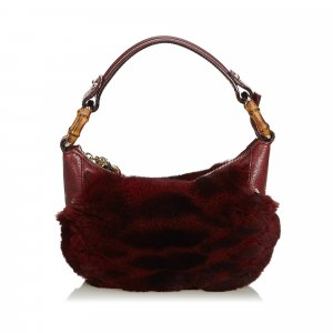 Gucci Fur Bamboo Ring Hobo Bag