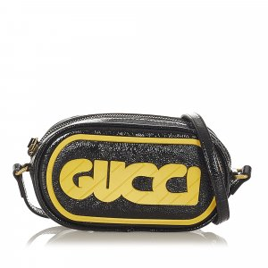 Gucci Game Patch Patent Leather Crossbody Bag