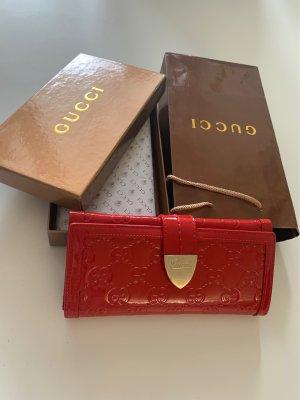 Gucci Portemonnee rood-goud Leer