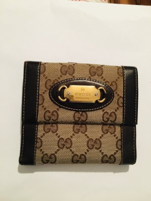 Gucci Geldbörse Portemonnaie beige braun Leder GG Muster und Canvas