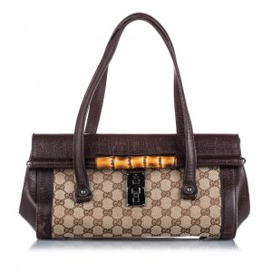Gucci GG Canvas Bamboo Bullet Shoulder Bag