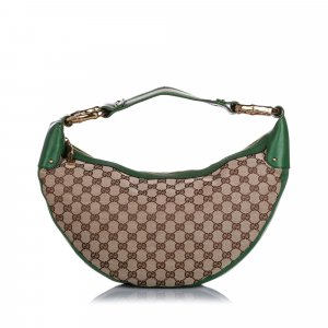 Gucci GG Canvas Bamboo Ring Hobo Bag