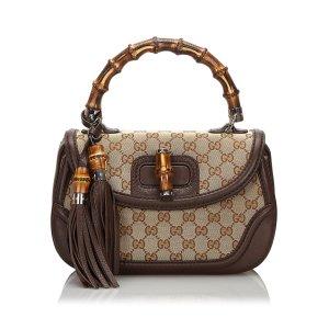 Gucci GG Canvas New Bamboo Handbag