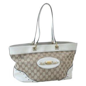 Gucci Bolsa de hombro beige fibra textil