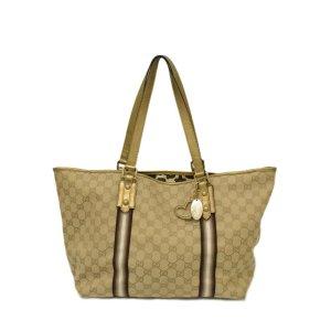 Gucci GG Canvas Shoulder Bag Gold heart charm