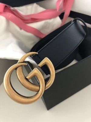 Gucci Leather Belt dark blue-gold-colored