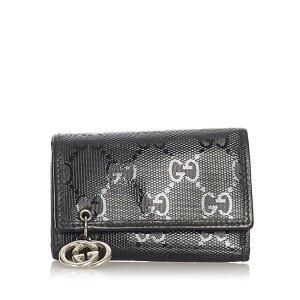 Gucci Etui voor sleutels zwart Chloorvezel