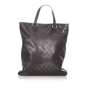 Gucci Borsa larga marrone scuro Clorofibra