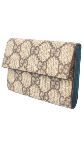 Gucci Card Case Beige Turquoise