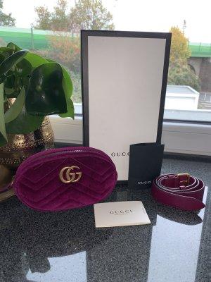 Gucci GG Marmont Bauchtasche Gürteltasche Samt Lila