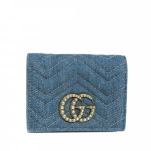 Gucci GG Marmont Matelasse Denim Small Wallet