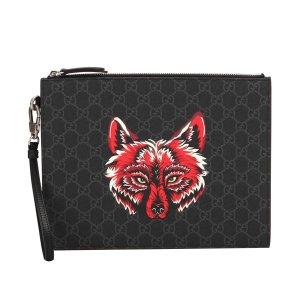 Gucci GG Supreme Wolf Clutch Bag