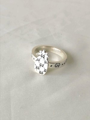 GUCCI GHOST RING PINEAPPLE SIZE 23 / 63 EU UNISEX SILVER