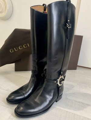 Gucci Glattleder Reitstiefel schwarz neuwertig