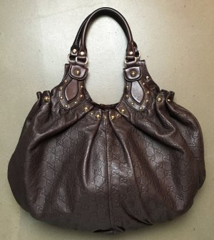 "* GUCCI * große SCHULTER Tasche LEDER  GUCCISSIMA braun NIETEN  gold -""Pelham Shoulder Bag Studded Guccissima Leather brown """