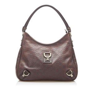 Gucci Sac porté épaule brun foncé cuir