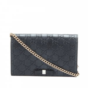 Gucci Guccissima Bow Wallet on Chain