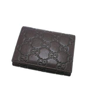 Gucci Porte-cartes brun foncé cuir