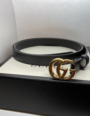 Gucci Ceinture en cuir noir-doré cuir