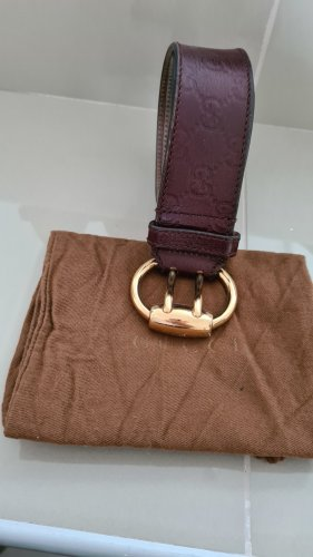 Gucci Leather Belt brown red leather