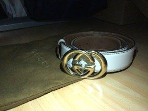 Gucci Cinturón de cuero color oro-blanco puro