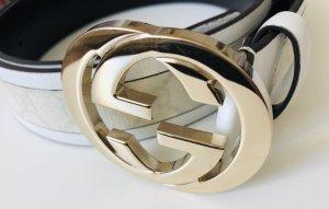 Gucci Cinturón de cuero blanco-color oro