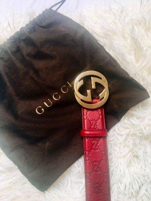 Gucci Ceinture en cuir bordeau-doré cuir