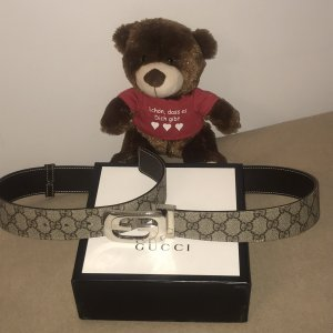 Gucci Leather Belt bronze-colored-silver-colored leather