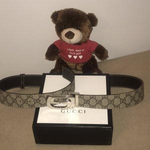 Gucci Cinturón de cuero color bronce-color plata Cuero