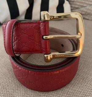 Gucci Ceinture en cuir rouge foncé