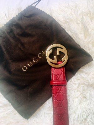 Gucci Cintura di pelle bordeaux-oro Pelle