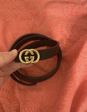 Gucci Skórzany pasek czarny