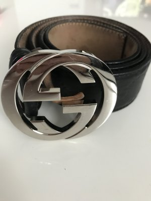 Gucci Belt black-silver-colored leather