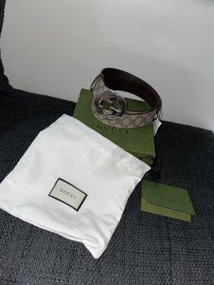 Gucci Gürtel Braun Beige Canvas Leder 90cm