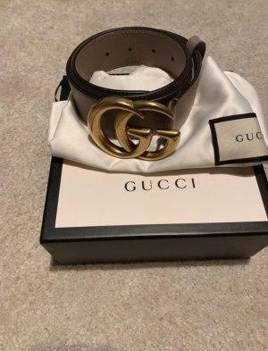 Gucci Cintura di pelle beige-marrone-grigio
