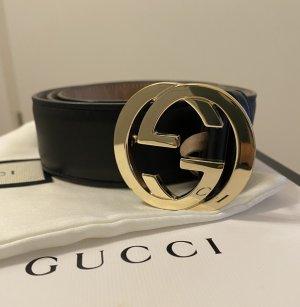 Gucci Cintura di pelle nero-sabbia Pelle