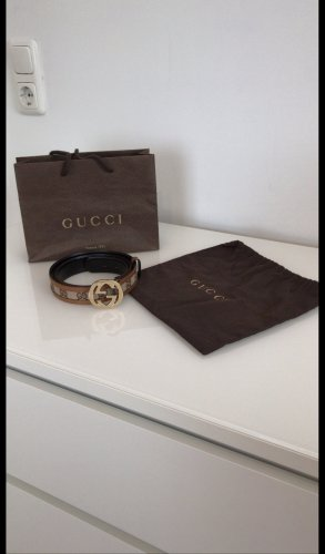 Gucci Cintura di pelle oro-marrone