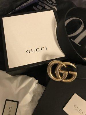 Gucci Ceinture en cuir noir-brun sable cuir