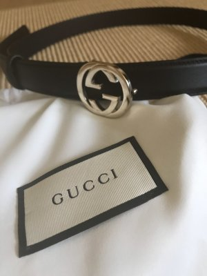 Gucci Leather Belt black-silver-colored leather
