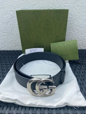 Gucci Cintura di pelle nero-argento