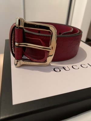 Gucci Leather Belt dark red leather