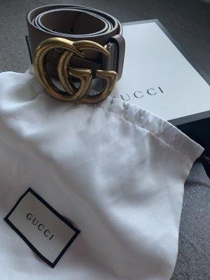 Gucci Ceinture en cuir gris brun-doré cuir
