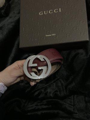 Gucci Cintura di pelle bordeaux