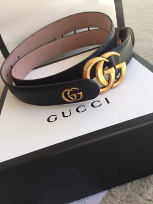 Gucci Gürtel schwarz Leder Metall Logo Gr 80