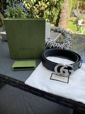Gucci Pasek do założenia w talii czarny-srebrny