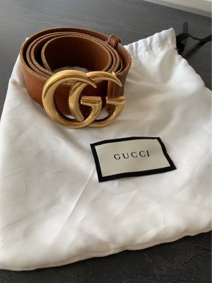 Gucci Leather Belt gold-colored-cognac-coloured leather