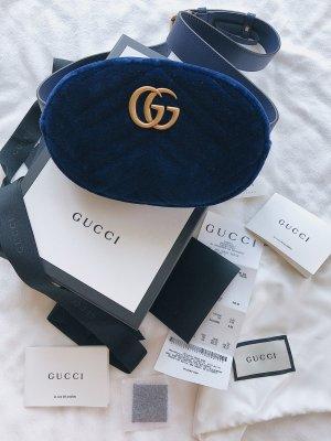 Gucci Gürteltasche, clutch, Bauchtasche, Samt, blau, neu mit Rechnung