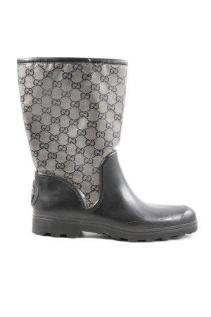 Gucci Wellington laarzen zwart-lichtgrijs volledige print casual uitstraling
