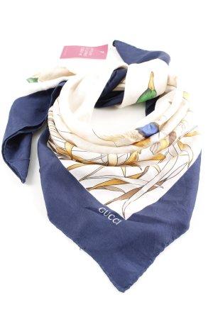 Gucci Foulard bleu-blanc cassé imprimé avec thème élégant